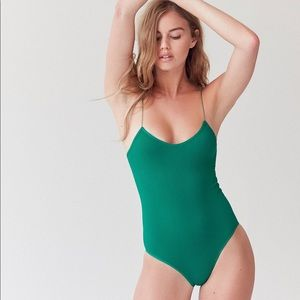 Green Out from Under seamless bungee bodysuit